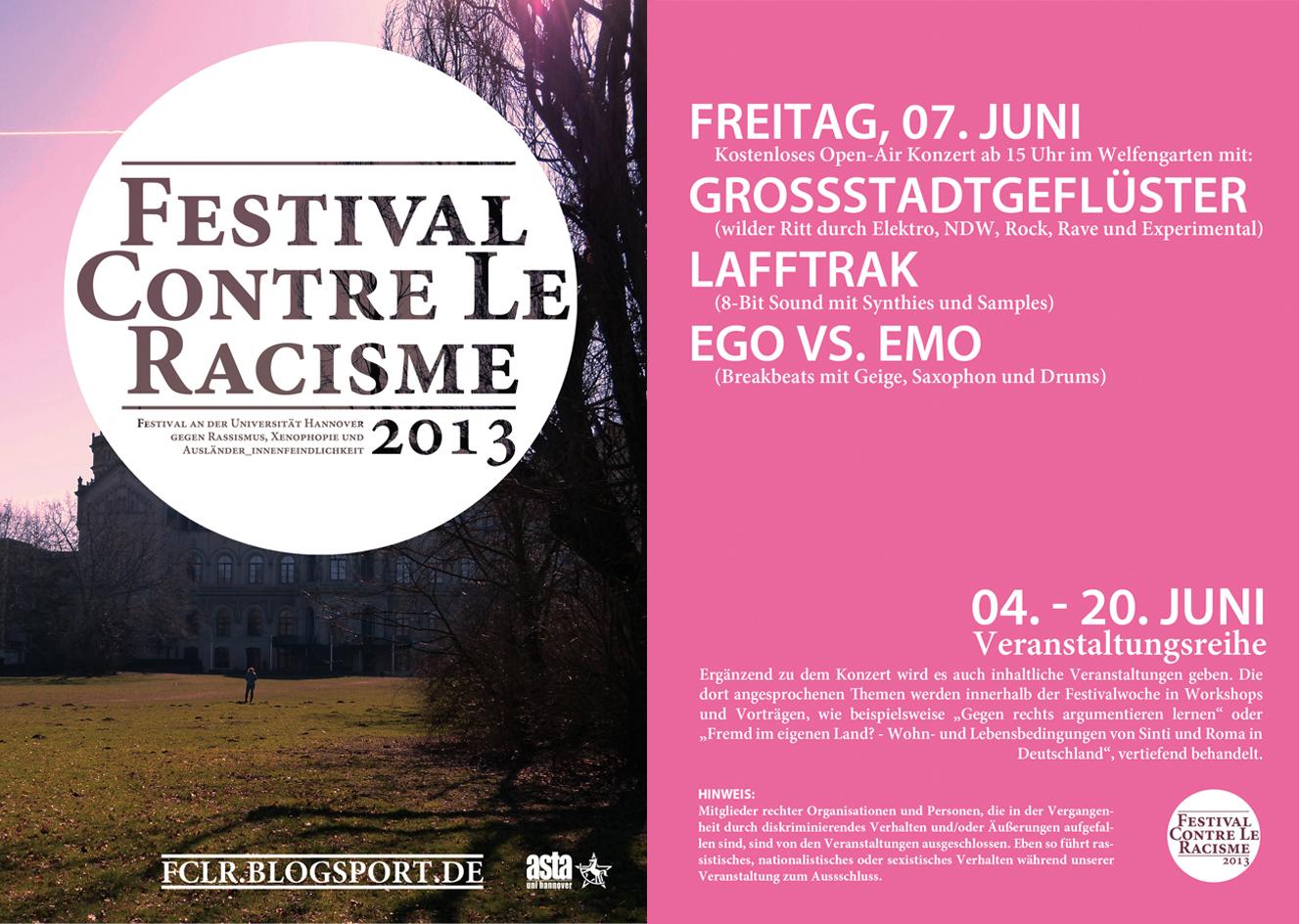 festival contre le racisme 2013 Flyer
