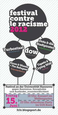 festival contre le racisme 2012 Flyer - Vorderseite